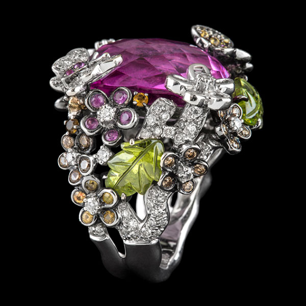 Boutique jewellery Posey detailed ring with pink tourmaline peridot and diamonds