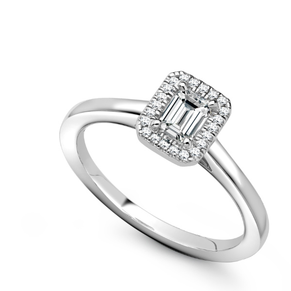 Emerald cut white gold engagement ring