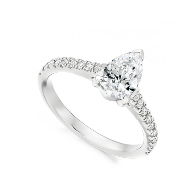 Fancy cut white gold engagement ring