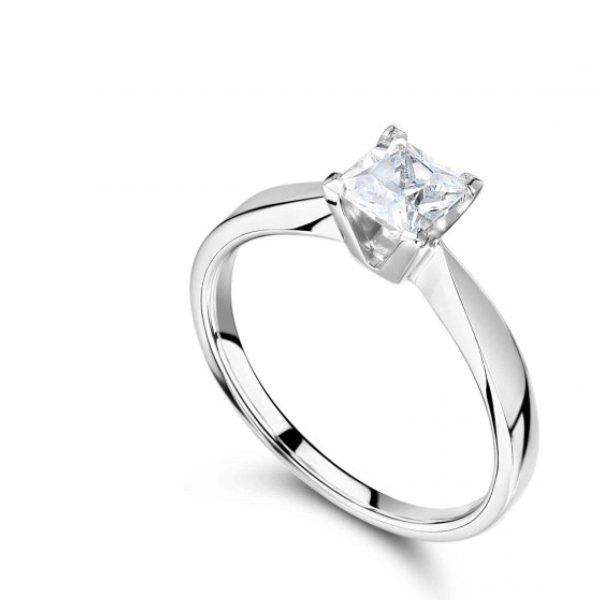 Princess cut white gold solitaire engagement ring